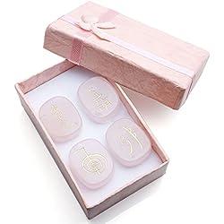 QGEM 4 pcs/set Rose Quartz Engraved Usui Reiki Symbols Chakra Stones Healing Palm Stone Decor w/Box