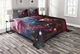 Lunarable Outer Space Bedspread Set King Size, Space Nebula with Cluster in The Cosmos Universe Galaxy Solar Celestial Zone, Decorative Quilted 3 Piece Coverlet Set with 2 Pillow Shams, Teal Red Pink