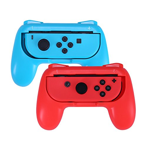 HDE Joy-Con Grips for Nintendo Switch Wear-resistant Premium Joy-con Controller Handles for Nintendo Switch (2 pack, Red & Blue)
