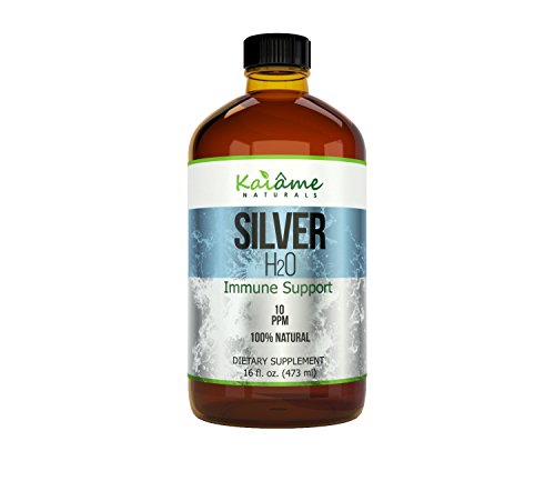 (Kaiame Naturals Colloidal Silver | Large 16 oz Glass Bottle | Natural Immune Support Supplement | Ionic Silver, 10 PPM | Safe for Adults, Children, and Pets!)