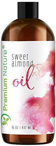 Sweet Almond Oil Carrier Oil - Cold Pressed Pure Natural Body Massage Oils for Essential Oils Mixing, Baby Oil Dry Skin Face Moisturizer Eye Makeup Remover Healthy Nails Cleansing Properties 16 oz (Best Carrier Oil For Making Essential Oils)