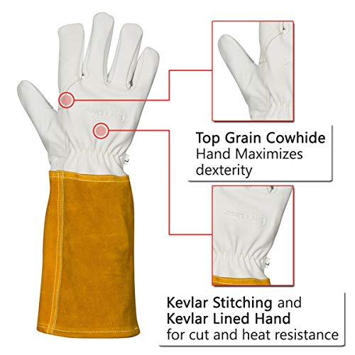 MIG TIG Welding Gloves | 16'' Soft Leather | Kevlar Stitching & Hand Lining Weld Glove (Medium) by Suse's Kinder (Image #3)