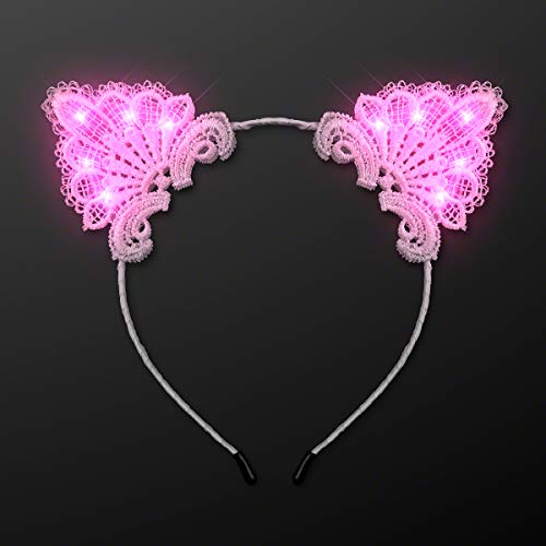 White Lace Kitty Cat Ears Headband with Pink LED Lights