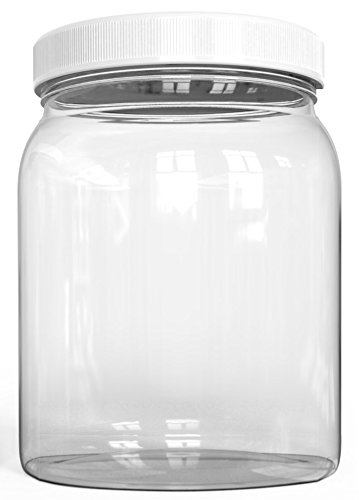 ½ Half Gallon Plastic Jars, Wide Mouth Jar, Clear, with Airtight Lined Fresh Seal Lid, Shatter-Proof Container Food Storage Safe PET 1 BPA Free 2 Quart 64 oz Canning, Great for Storing Snacks (6) by KombuJars (Image #2)