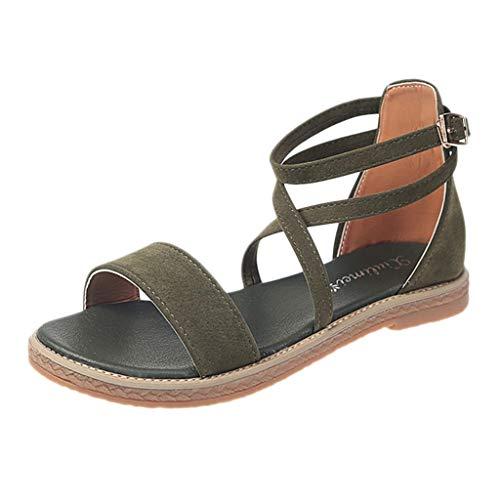 AOJIAN Shoes Women's Sandals Bohemian Cross Buckle Pump Flats Flip Flop Slide Slipper Clog Mule Green