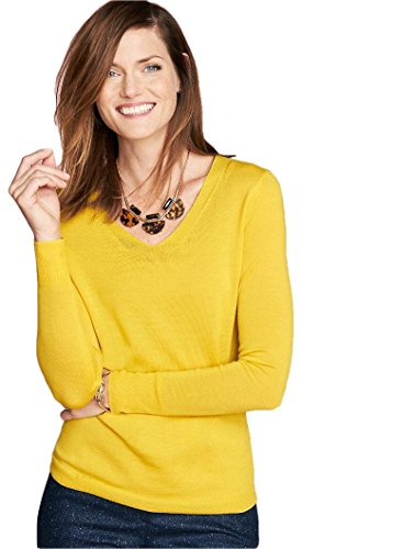 talbots-v-neck-yellow-sweater-pullover-size-xs