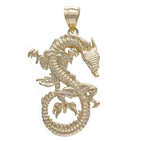 14K Yellow Gold Chinese Zodiac or Medieval Style Dragon Charm or Pendant (1.3
