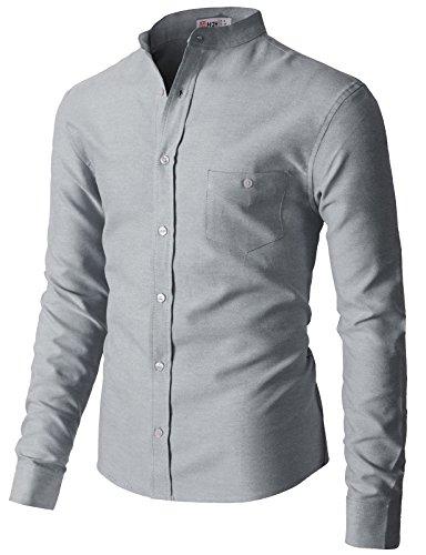 - H2H Men Solid Sport Oxford Shirt Navy US 2XL/Asia 3XL (KMTSTL0552)