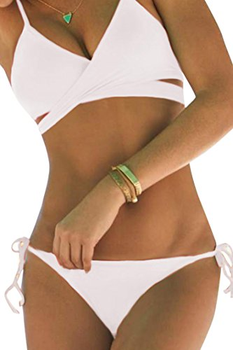 Sovoyant Women's Criss Cross Halter Push Up Bikini Set Swimsuits White XXL (Halter White Apparel)