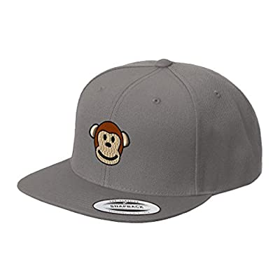 Cute Monkey Face Embroidered Flat Visor Snapback Hat Dark Grey