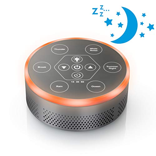 Dreams Candle - Dream Zone Sound Machine – Relaxing Sleep Therapy for Home, Office, Baby & Study – 6 Unique Music Settings, Timer, USB Charging Ports & Flickering Night Light – Ocean, Rain & River Sounds (Silver)