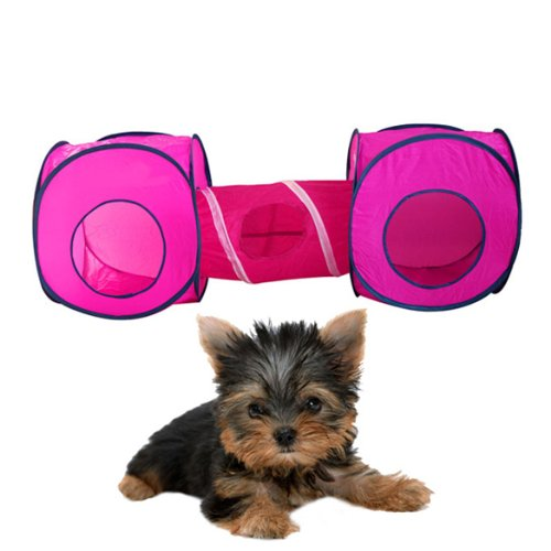Vktech Kitten Cat Small Pet Dog Tent Toy Play Accessory Supply 2 Cube with 1 Tunnel Playground Magenta, My Pet Supplies
