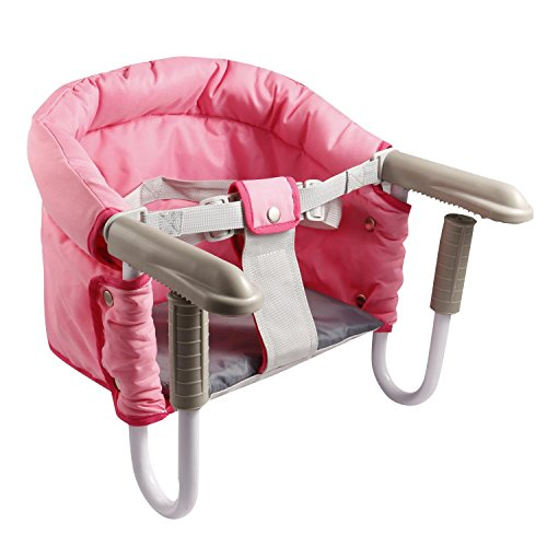 Garain Foldable Portable Clip-On Baby High Chair Feeding Chair Seat with Carry Bag, Pink (US Stock) by Garain