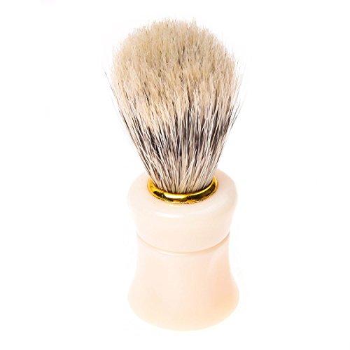 SODIAL(R)1pcs Shave Shaving Brush Plastic Handle + Pig Boar Bristle Beard Mustache Brush White