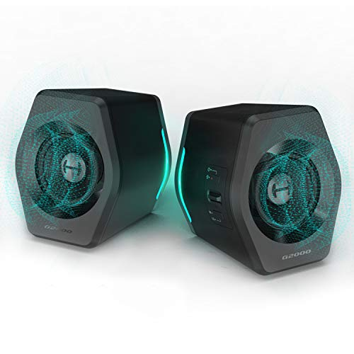 Edifier G2000 PC Computer Speakers for Desktop, Gaming, Laptop, Mac,Woofer Speakers Bluetooth, Bass Multimedia Speakers USB with subwoofer, RGB Lights, 3.5mm AUX inputs,Black