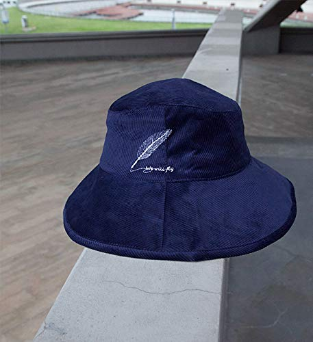 (feather) wide along autumn winter days, bucket hats embroidered corduroy cloth hat cap foldable fine arts (navy