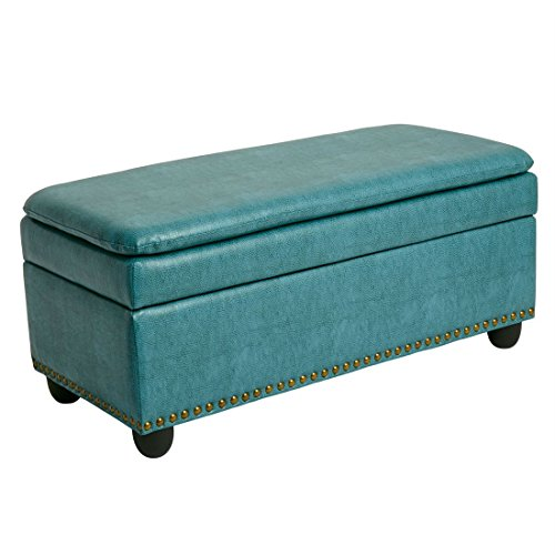 BrylaneHome Extra Wide Ottoman With Studs (Blue Haze,0) by BrylaneHome