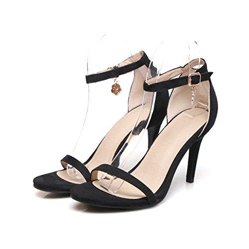 Mei&S Sandalias de Mujer Zapatos de Tacones de Aguja al Tobillo. Black Suede