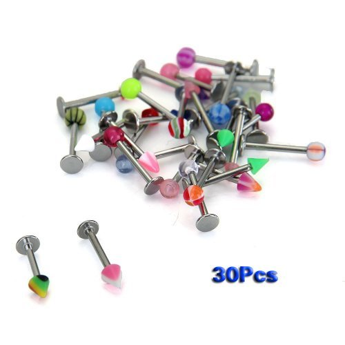 Sonline 30 Assorted 316 Steel Acrylic Ball Labret Lip Bar Ring