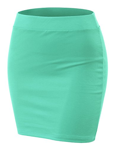 Doublju Stretch Knit Bodycon Mini Skirt for Women with Plus Size Mint Small