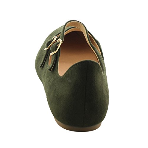 Olive Dress Straps Women's Ballet Dual Scalloped FJ81 Flats BETANI Edge Buckle WAOZq5Sv