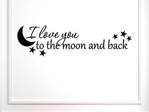 Vinylsay 1246.Ilove-G.Black -44x12 Decal I Love You To The Moon And Back Saying Wall Decal, 44 x 12, Gloss Black
