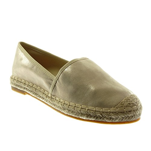 Angkorly Women's Fashion Shoes Espadrilles - Slip-on - Grained - Cord Block Heel 2.5 cm Gold