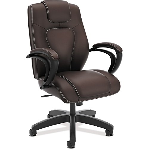 basyx by HON Managerial Chair -  High-Back Office Chair with Arms for Computer Desk, Brown (HVL402) by basyx by HON