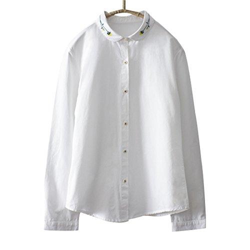 キャンバス生活証書(ボラ-キキ) Bole-kk シャツ 刺繍 ブラウス レディース 長袖 カッターシャツ オフィス 通勤 通学  トップス 花柄 ホワイト 白