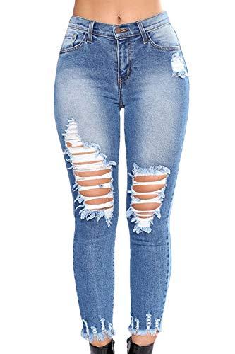 Tagliato I Le Caviglia Casual Pantaloni Strappato Vepodrau Blu Donne Jeans Attillati Denim Addosso SRXvnawq