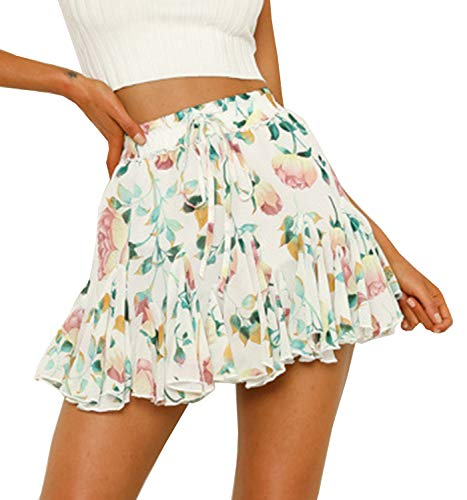 (Women's Floral High Waist Drawstring Ruffle Flared Boho A-Line Pleated Skater Mini Skirt)