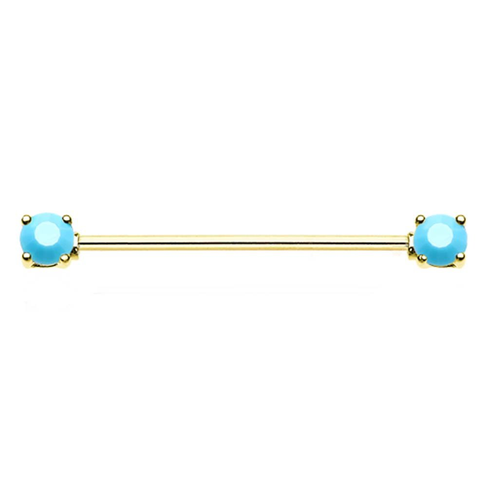 Gold Colored Double Prong Turquoise Colored Colored Gem Industrial Barbell 14G - Sold Individually 1.6mm