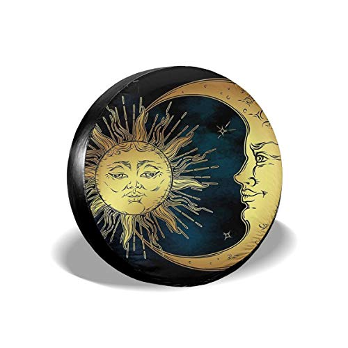 Sacred Moon and Sun in Antique Style Lunar Myth Astrology Zen Art Print Weatherproof Wheel Cover - Protects Tires from Sun Dirt and Corrosion