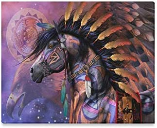 Amazon Com Custom Native American Indian Horse Modern Canvas Print Painting Wood Framed Wall Art For Home Decoration Wall Decor 20 X 16 Inches Posters Prints