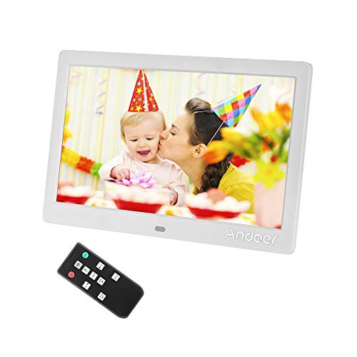 Andoer 10 Inch Digital Picture Photo Frame 16:9 IPS Screen Support Video, USB and SD Card Slots, Calendar, Background Music from Andoer