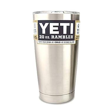 Yeti Coolers Rambler Tumbler, Silver, 20 oz.