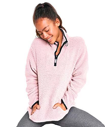 VS Pink Sherpa Quarter Zip Jacket Baby Pink (Large) -
