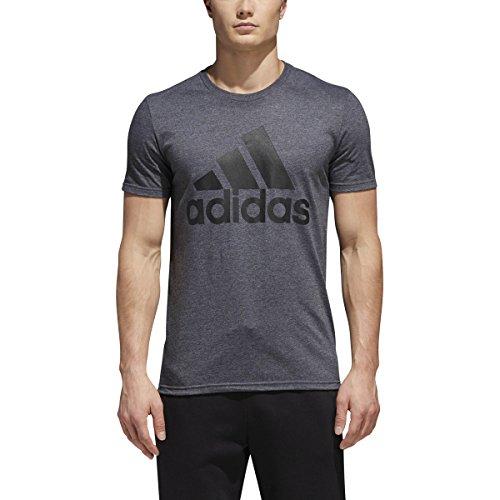 adidas Mens Badge of Sport Graphic Tee, Dark Grey Heather/Black, X-Large