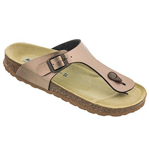 7055d4374093a7 Sanosan Women s Geneve Thong Sandals in Metallic Sanoflor - Comfort Plus