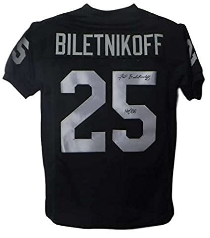 newest 6fb98 7b714 Fred Biletnikoff Autographed/Signed Oakland Raiders Black XL ...
