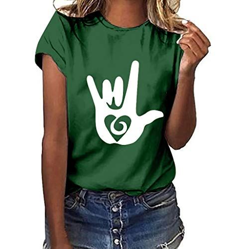Dressin Women Plus Size Love Gesture Print Short Sleeve T-Shirt Tops Blouse Ladies Girls Funny Loose Summer Shirt Green for $<!--$7.16-->