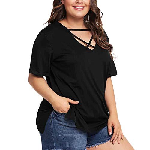 Sunhusing Women's Loose Large Size Cross Strap V-Neck Short-Sleeve T-Shirt Top Tee Black