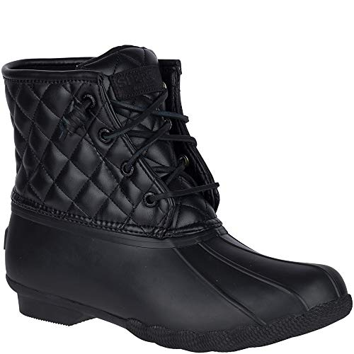 Saltwater Boot Quilted Black Lux Sperry Top Sider Rain Women's tRwaRCzvq