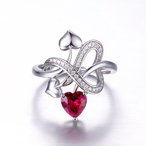 Merthus Womens 925 Sterling Silver Created Ruby Heart Love Knot Ring by Merthus (Image #3)