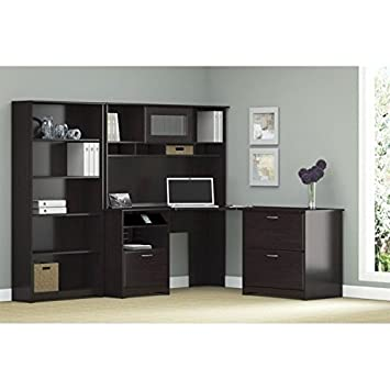 Cabot Corner Desk with Hutch - Lateral File Cabinet and 5 Shelf Bookcase in Espresso Oak