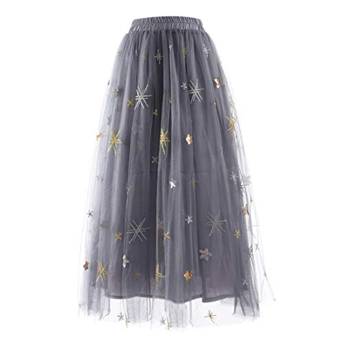 Women's Sequin Embroidered A-Line Tutu Skirt Elastic High Waist Pleated Tulle Skirt Large Swing Flared Midi Long Length - Lace Skirt Sequin