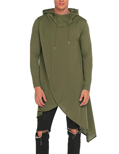 COOFANDY Mens Casual Hooded Poncho Cape Cloak Irregular Hem Hoodie Pullover,XXX-Large,Army Green -