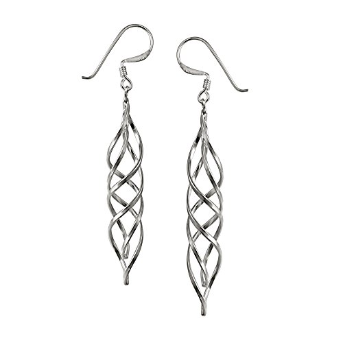 (Sterling Silver Polished Linear Swirl French Wire Dangle Earrings)