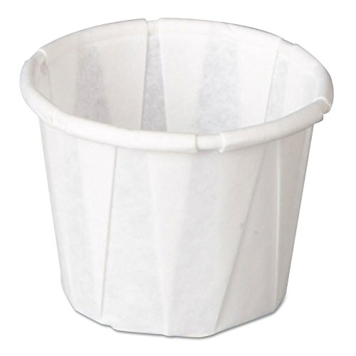 Genpak GNPF050 Squat Paper Portion Cup Pleated .5oz White 250/Sleeve 20 Sleeve/Carton by BLOSSOMZ