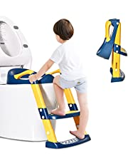Barakara Potty Training Toilet Seat with Step Stool Ladder for Kids Baby Toilet Training Seat Chair with Handles & Non-Slip Steps